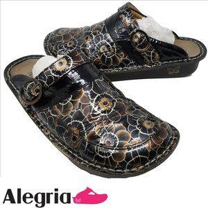 ALEGRIA Seville Black Gerber Patent Clog Sz 9.5-10